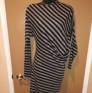 BCBG Maxazria Striped Asymmetric Dress Size Medium